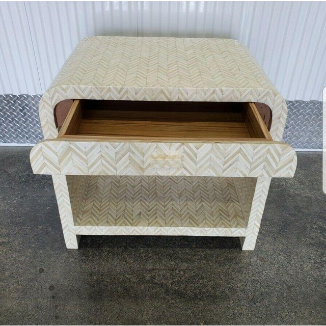 Bone 1970s Tessellated Bone Nightstand With Drawer For Sale - Image 7 of 13