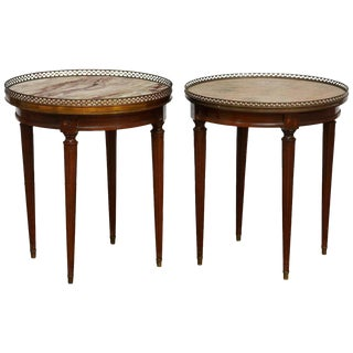 Louis XVI Style Marble Gueridon Drink Tables - a Pair