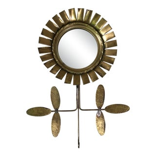 Small French Gold Metal Flower Mirror Circa 1960 For Sale