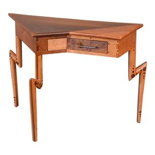 Angular Walnut and Maple Studio Side Table