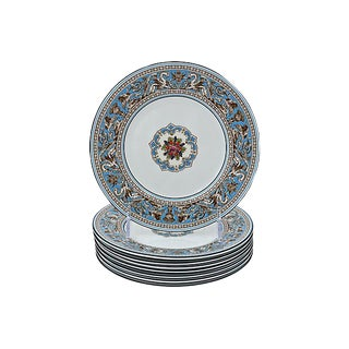 Wedgwood Florentine Enameled Plates, S/8 For Sale
