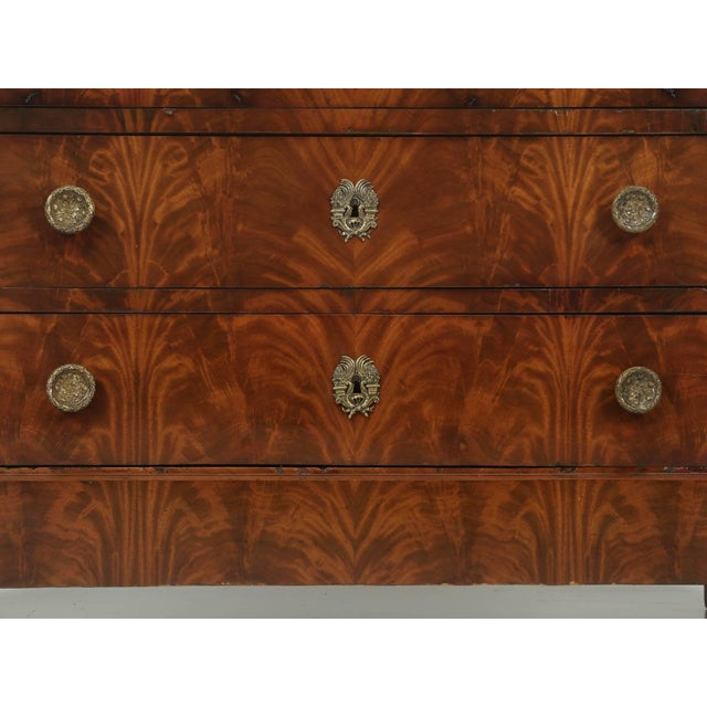Gold Antique French Commode in Mahogany With Exquisite Hardware For Sale - Image 8 of 10