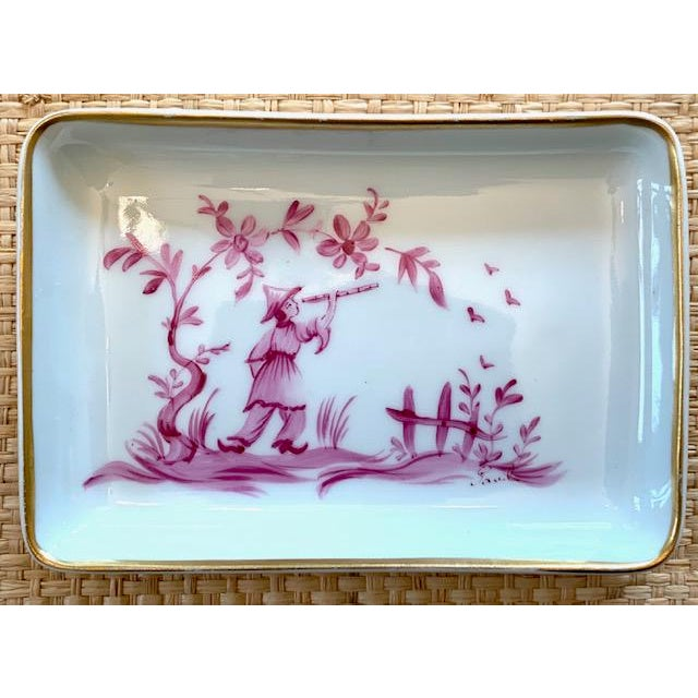 Asian 1960s Limoges Chinoiserie Trinket Dish For Sale - Image 3 of 7