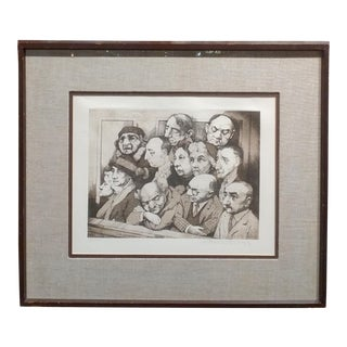 """""""Sequestered Jury"""" Original Hand Signed Etching For Sale"""