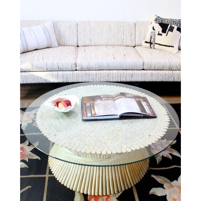 McGuire Vintage McGuire Rattan Coffee Table With Glass Top For Sale - Image 4 of 5