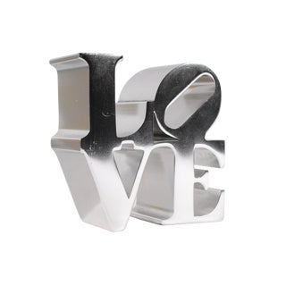 Robert Indiana Love Chrome Paperweight For Sale