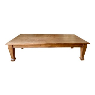 Indian Teak Trestle Dining Table With Solid Wood Legs For Sale