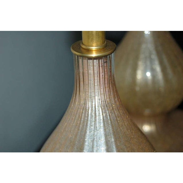 Vintage Murano Glass Eglomise Table Lamps in Gold For Sale In Little Rock - Image 6 of 10