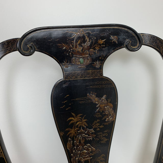 Black Japanned Chinoiserie Queen Anne Arm Chair For Sale - Image 12 of 13