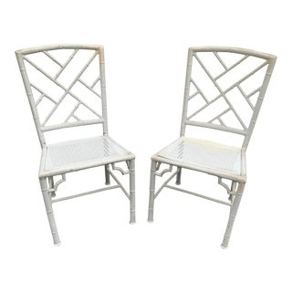 Pair of Metal Faux Bamboo Chinese Chippendale Chairs With Caning For Sale