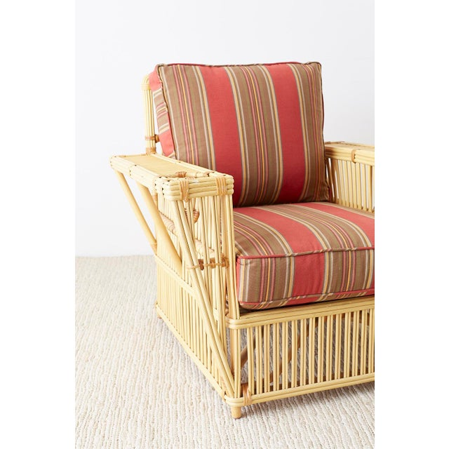 Mid 20th Century Pair of Bielecky Stick Wicker Rattan President Lounge Chairs For Sale - Image 5 of 13