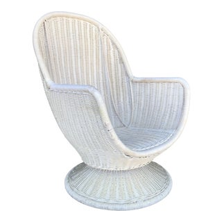 Vintage Wicker Swivel Egg Chair For Sale