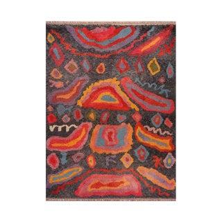 1990s Handwoven Modern Angora Wool Shag Rug - 9′1″ × 12′1″ For Sale