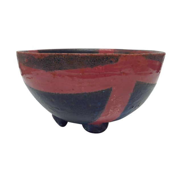 Abstract Studio Pottery Red & Blue Footed Bowl - Image 1 of 5