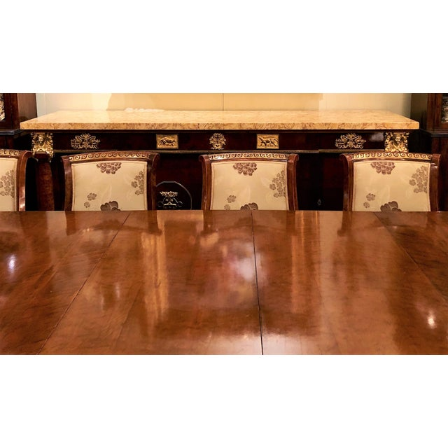 Antique French Empire Style Circassian Walnut Dining Suite: Table, Sideboard and 12 Chairs. For Sale - Image 12 of 13