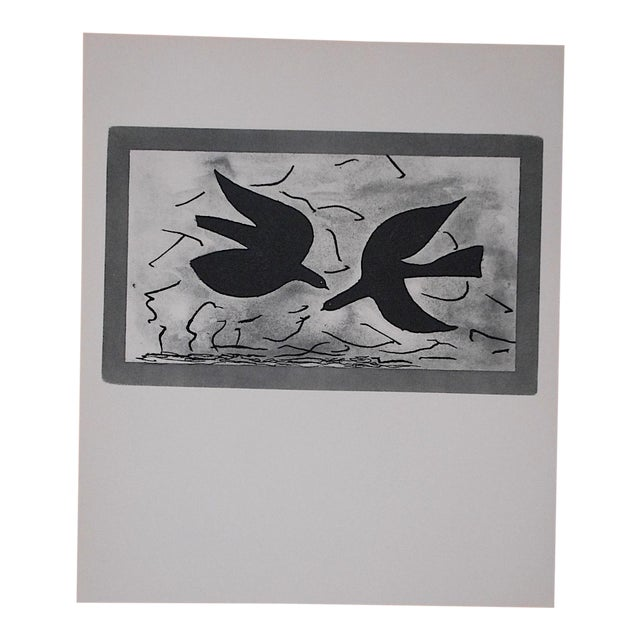 This captivating mid 20th century lithograph (offset) depicts one of Georges Braque's iconic abstracted images. Braque (...