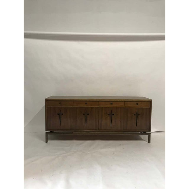 Brown Decorative Midcentury Edmond J Spence Stilted Walnut Credenza, Sideboard, Buffet For Sale - Image 8 of 9