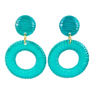Oversized Lucite Clip on Earrings Aqua Blue Donut Hoop With Texture For Sale