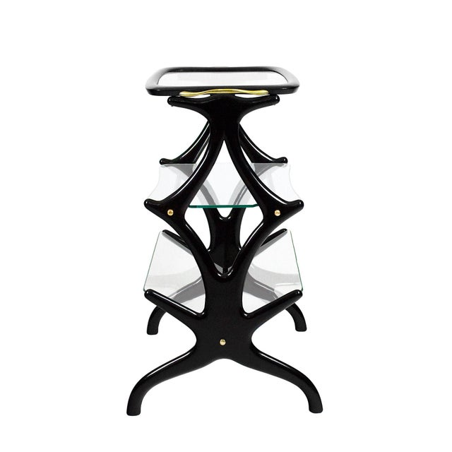 Mid-Century Modern 1950´s Sidetable With Magazine Rack by Cesare Lacca, Beech, Glass, Brass - Italy For Sale - Image 3 of 8