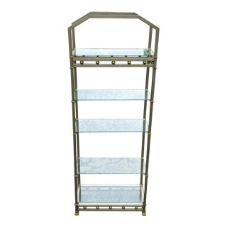 1970s Directoire Style Brushed Steel and Brass Etagere For Sale