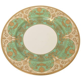 12 Elaborate Green and Raised Gold Encrusted Presentation or Dinner Plates For Sale