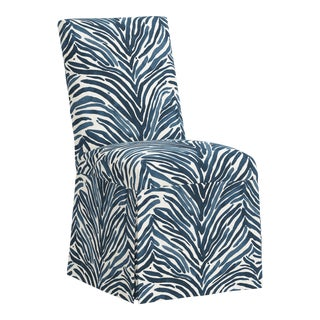 Slipcover Dining Chair in Washed Zebra Blu - Vlv Black For Sale
