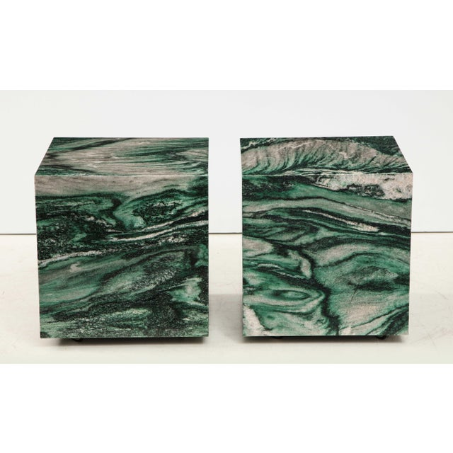 Polar Verde Marble Cubes or Side Tables - a Pair For Sale In New York - Image 6 of 11