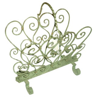 French Magazine Rack, Wrought Iron Verdigris