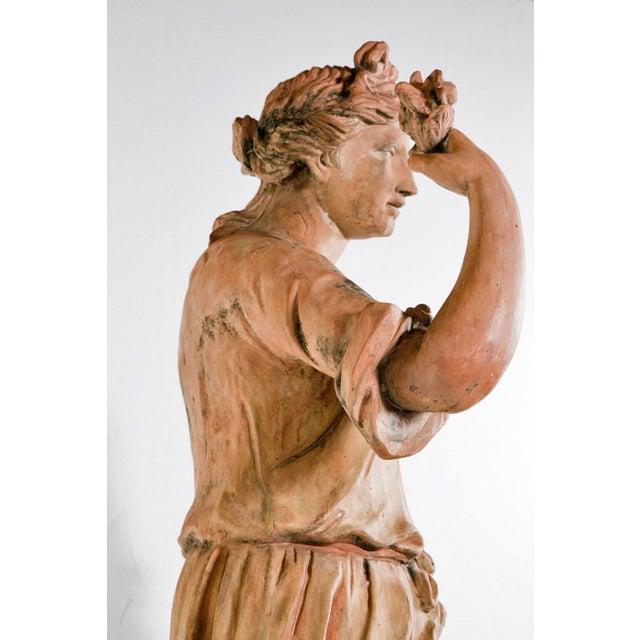 Farmhouse Large Italian Terra Cotta Statue Of Goddess Flora For Sale - Image 3 of 5