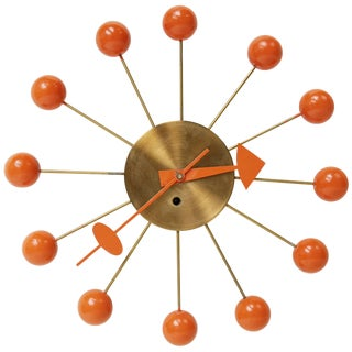George Nelson Orange Ball Clock for Howard Miller, Circa 1950 For Sale