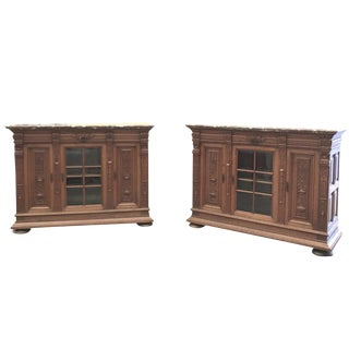 Pair 19th Century French Louis XIV Marble Top Display Buffets For Sale