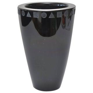 Ward Bennett for Sasaki Amethyst Black Glass Vase For Sale
