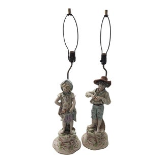 Antique Arnart Porcelain Country Boy and Girl Figurine Lamps - a Pair For Sale