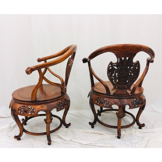Pair Antique Carved Arm Chairs For Sale - Image 10 of 13