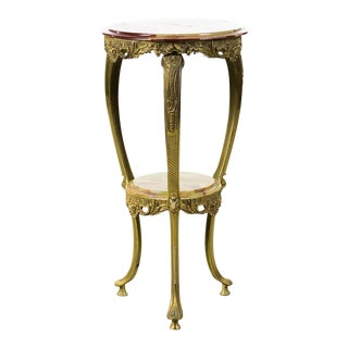 Antique French Brass Stand With Round Onyx Top For Sale