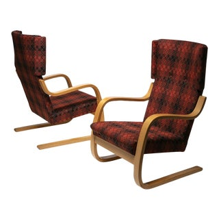 "Rare Set of ""401"" Lounge Chairs by Alvar Aalto for Artek For Sale"