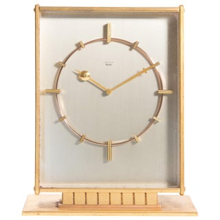 Junghans Mid-Century Modern Large Desk Clock With Jeweled Movement For Sale