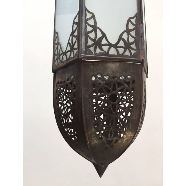 Mid Century Handcrafted Moroccan Moorish Milky Glass Pendant Light For Sale - Image 12 of 13