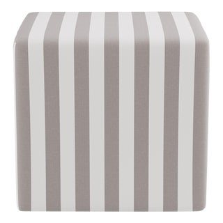 Cube Ottoman in Taupe Cabana Stripe For Sale