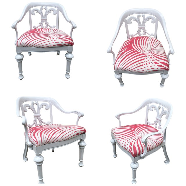 Set of 4 Dorothy Draper Rare Patio Chairs Made by Kessler For Sale