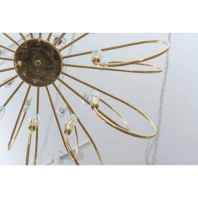 Polished Brass Twelve-Arm Chandelier For Sale - Image 4 of 5