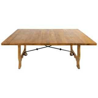 Country French Style Wood Dining Table With a Wrought Iron Stretcher For Sale