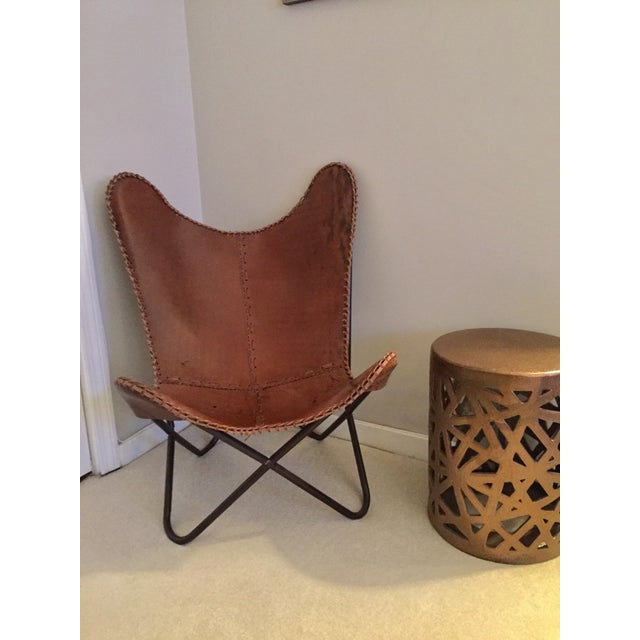 Tan Leather Butterfly Chair - Image 2 of 4