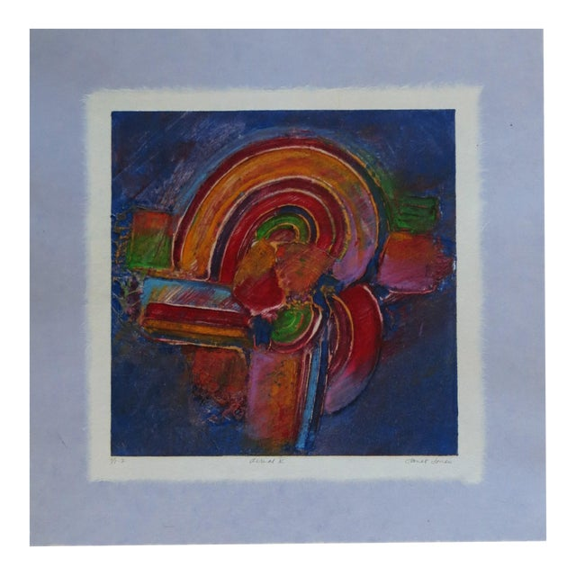 Aerial V Abstract Monotype With Chine Colle and Embossing by Janet Jones For Sale