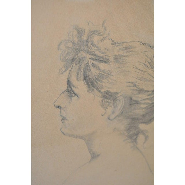Early 20th Century Pencil Portrait of a Young Woman - Image 5 of 6