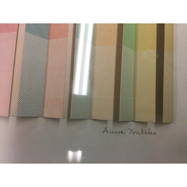 1970s Anne Youkeles Op Art 1970 Cascade II Signed Lmt Ed Mixed Media For Sale - Image 5 of 10