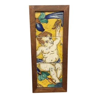 18th Century Italian Majolica Faience Pottery Putto Framed Tiles For Sale