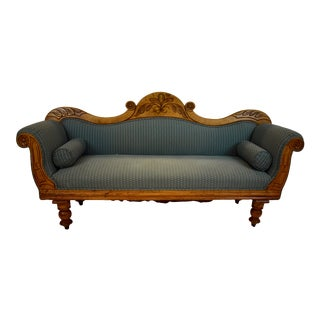 Irish Pine Camelback Settee For Sale