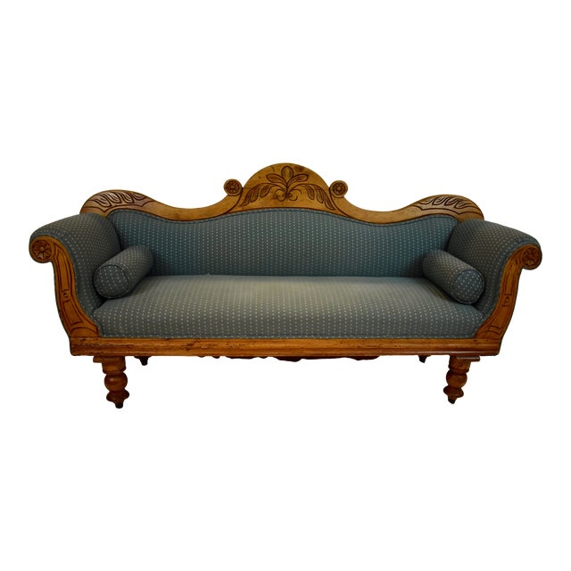 Late 19th Century Irish Pine Camelback Settee For Sale