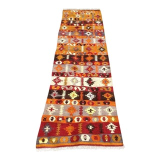 Vintage Turkish Kilim Runner Rug - 2′6″ × 9′10″ For Sale